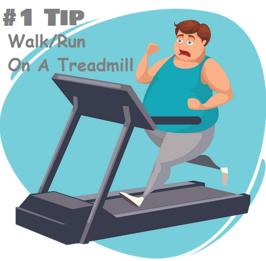 Obese Man running on treadmill